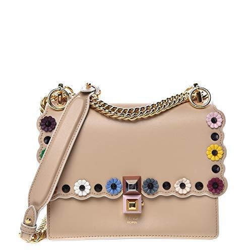 Fendi Womens Kan I Beige Brown Multi Color Flowers Soft Leather Shoulder Bag 8M0381