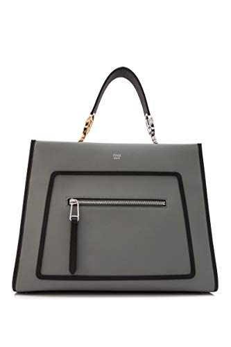 Fendi Runaway Bag Ice Gray Leather w Black Trim Palladium Metal Hardware Satchel Tote Handbag 8BH344