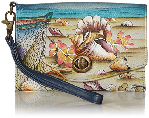 Anna by Anuschka Vintage Wristlet Clutch | Genuine Leather | Caribbean Dream