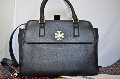 Tory Burch 31385 001 Mercer Pebbled Satchel Crossbody Black Leather Handbag