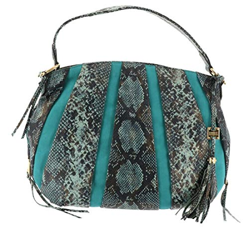 Aimee Kestenberg Pebble Leather & Suede Hobo Tuscany Soft Teal Snake New A282316