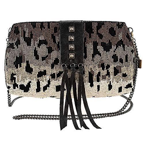 Mary Frances Cheetah Chic Beaded Crossbody Handbag