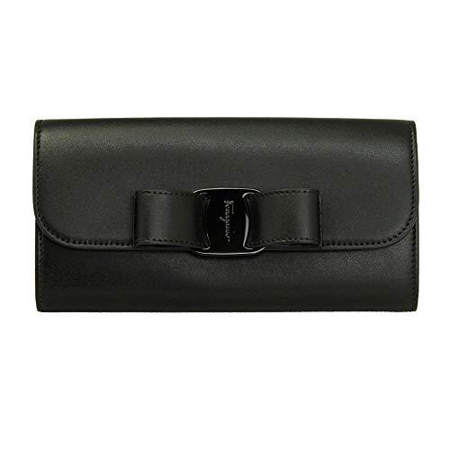 Salvatore Ferragamo Vara Black Leather Bifold Long Wallet 22D269 Nero