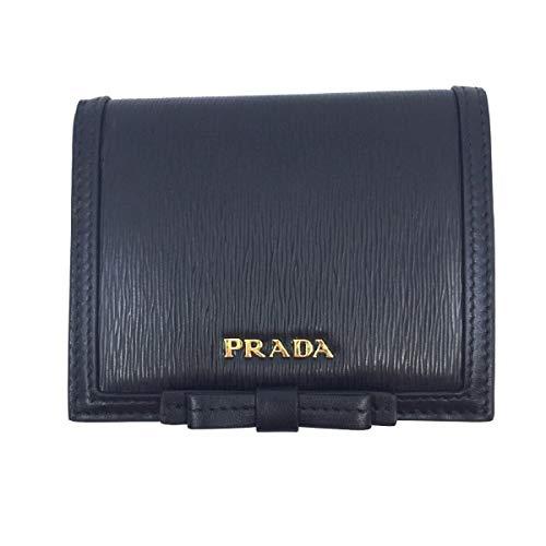 Prada Vitello Move Leather Bi Fold Flap Bow Front Snap Close Wallet 1MV204