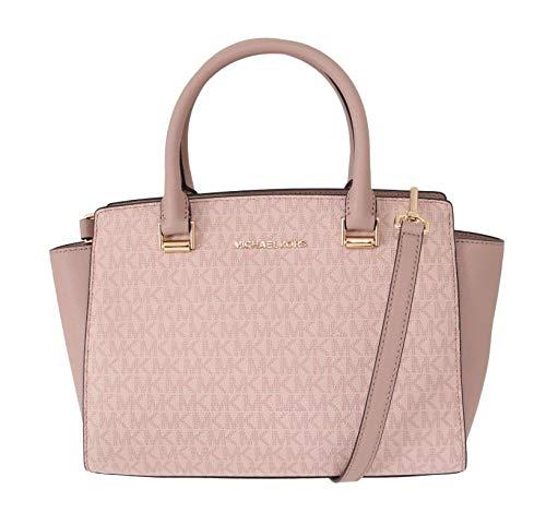 Michael Kors Selma Saffiano Leather Medium Top Zip Satchel Bag – Fawn/Ballet Pink
