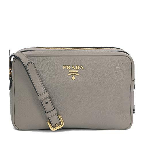 Prada Women's Gray Vitello Phenix Leather Crossbody 1BH079