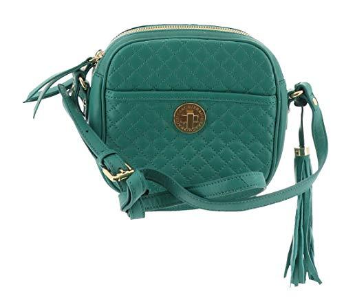 Isaac Mizrahi Bridgehampton Quilted Leather Camera Bag Emerald Green # A238270