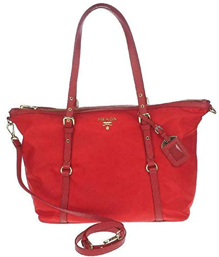 Prada Red Tessuto Nylon Saffiano Leather Trim Shopping Tote Bag 1BG253