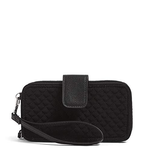 Vera Bradley Women's Microfiber RFID Smartphone Wristlet , Classic Black, One Size