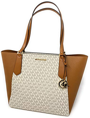 Michael Kors Large Kimberly Signature Shoulder Tote Bag Vanilla Acorn