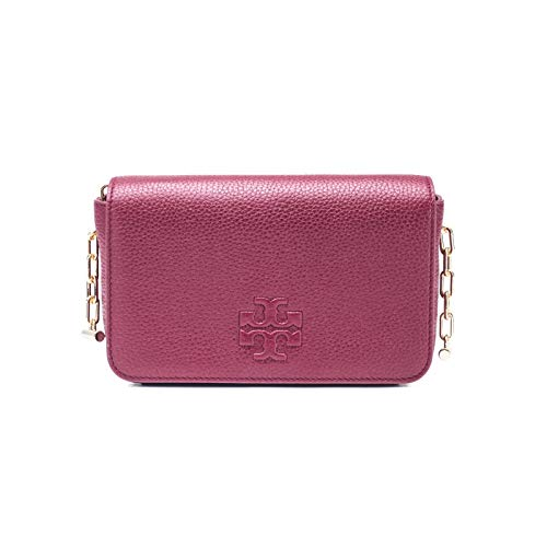 Tory Burch Leather Thea Mini Crossbody Handbag Burgundy