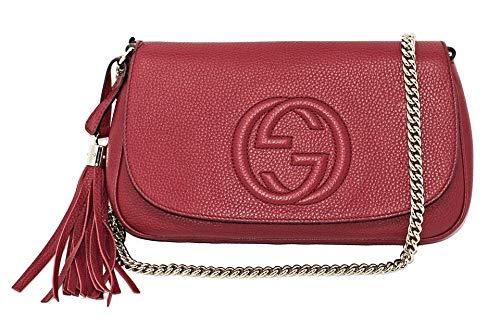 Gucci Soho Interlocking GG Red Leather Chain Flap Shoulder Bag Handbag New