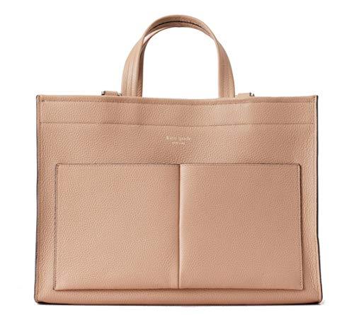 Kate Spade New York Sam Large Pocket Pebble Leather Satchel Bag, Light Fawn