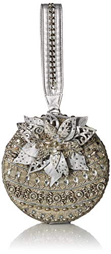 Mary Frances Snow Globe, Beaded Holiday Ornament Wristlet Handbag, silver