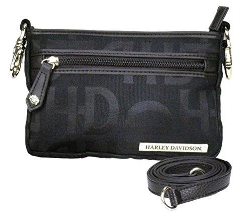 Harley-Davidson Women's Hip Bag, HD Jacquard, Black Cotton Purse HD3492J-Black
