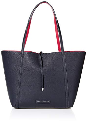 A|X Armani Exchange Pebble PU Reverisble Tote Bag, navy/red