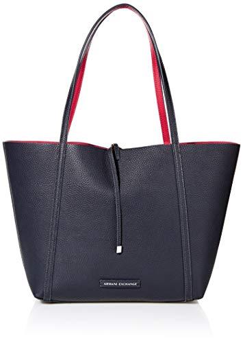 A|X Armani Exchange Pebble PU Reverisble Tote Bag, navy/red