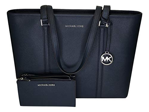 MICHAEL Michael Kors Sady Large MF TZ Tote bundled with Michael Kors Jet Set Travel Double Zip Wallet/Wristlet (Navy)