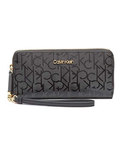 Calvin Klein Key Item Signature Continental Zip Around Wallet with Wristlet Strap, BLACK/BLACK