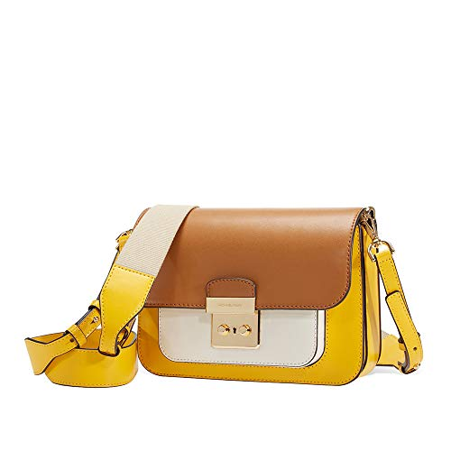 Michael Kors Sloan Editor Color-Block Leather Shoulder Bag- Yellow Multi