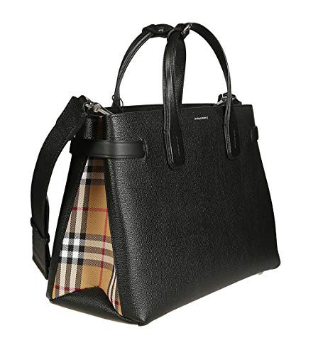 Burberry Medium Banner in Leather and Vintage Check- Black
