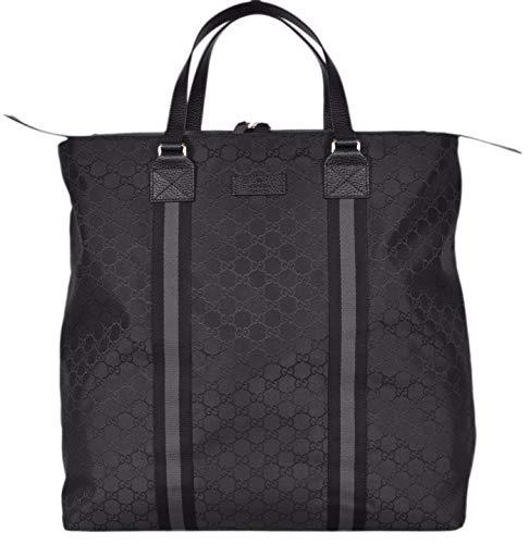 Gucci Nylon GG Guccissima Web Trim XL Zip Close Tote Bag (Black/449179)