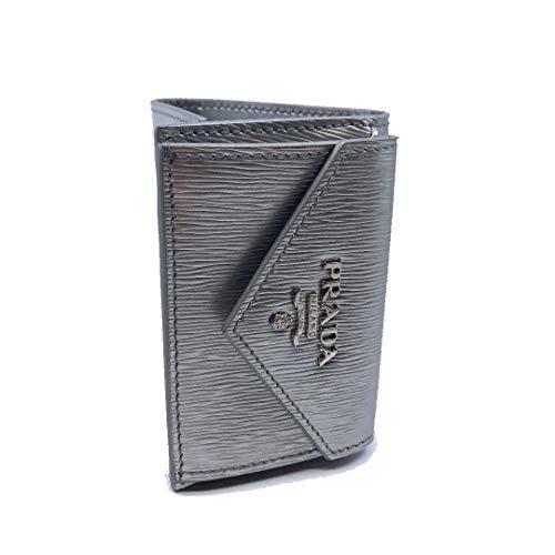 Prada Portafoglio Pattina Cromo Silver Vitello Move Envelope Flap Wallet 1MH021