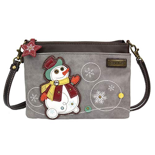 Chala Snowman Mini Crossbody Handbag, Snowman Lover Snowman Collector Chala Handbags
