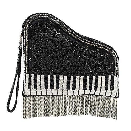 Mary Frances On That Note Beaded Leather Piano Crossbody Handbag Purse, Black