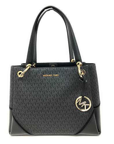 Michael Kors Nicole Large Shoulder Tote bag MK Signature In Black PVC