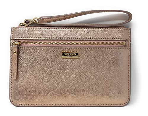 Kate Spade New York Laurel Way Tinie Leather Wristlet in Rose Gold