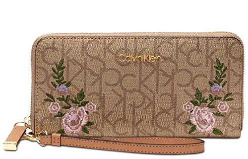Calvin Klein Logo Pink Floral Embroidered Saffiano Leather Wallet Wristlet Clutch Bag