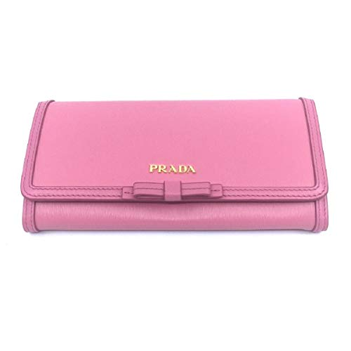 Prada Women's Snap Closure Continental Wallet Geranio Pink Detachable ID Card 1MH132