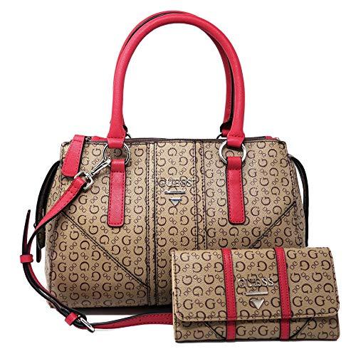 GUESS Logo Satchel Tote Bag Handbag & Wallet Set – Mocha