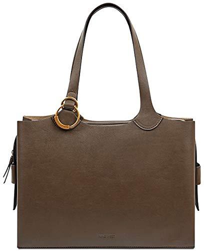 Nine West Womens Mayari Faux Leather Organizational Tote Handbag Brown Large