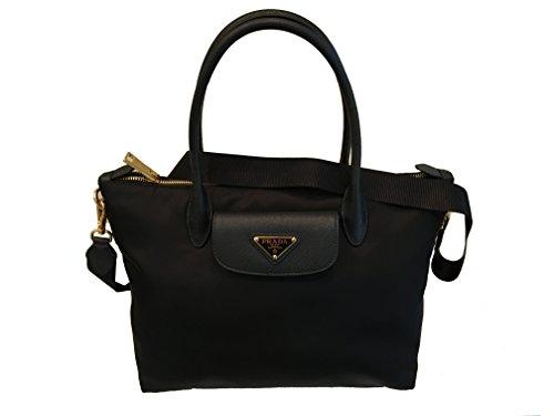 Prada Black Tessuto Saffiano Nylon Shopping Tote Bag 1BA106