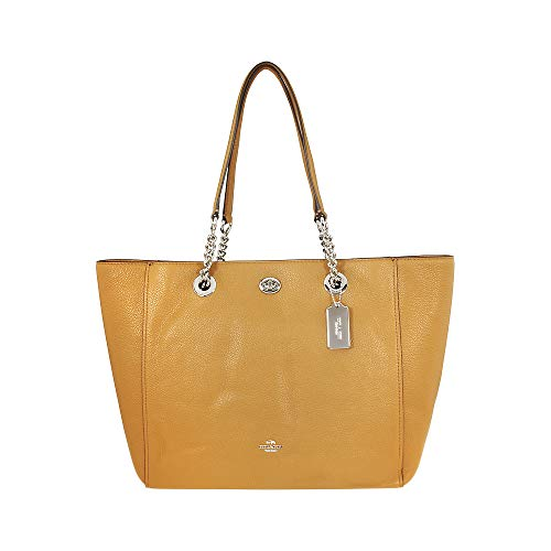 Coach Ladies Large Leather Chain Tote Handbag 56830