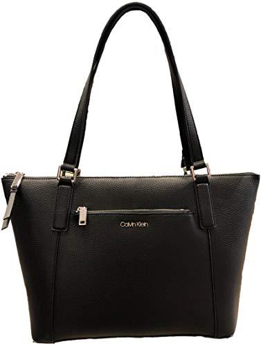 Calvin Klein Zip top Zip front pocket Tote, Black, Large