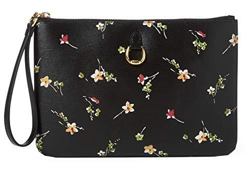 Lauren Ralph Lauren Women's Black Leather Floral Print Wristlet Clutch
