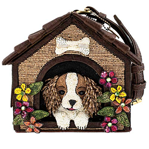 Mary Frances Ruff House Beaded Dog House Novelty Wristlet Handbag Purse, Multi