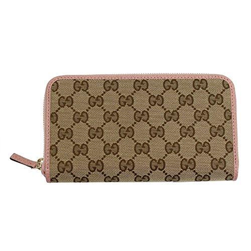 Gucci Women's Beige GG Canvas & Pink Leatehr Long Wallet 363423 Ky9lg Zip Around