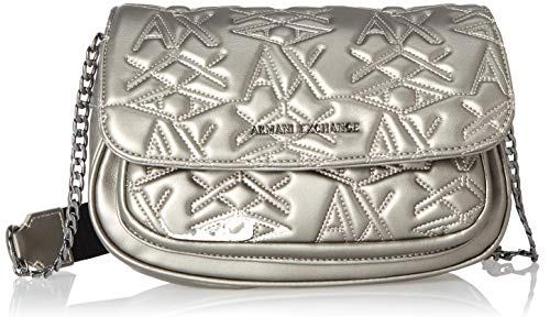 A X Armani Exchange Flap Over Crossbody Bag, gunmetal