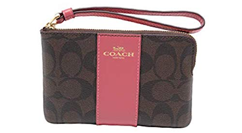 Coach Signature PVC and Leather Corner Zip Wristlet (IM/Brown Peony)