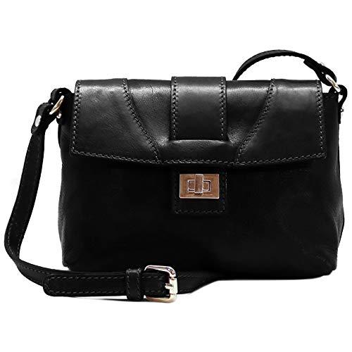 Floto Sapri Cross Body Bag in Black Leather