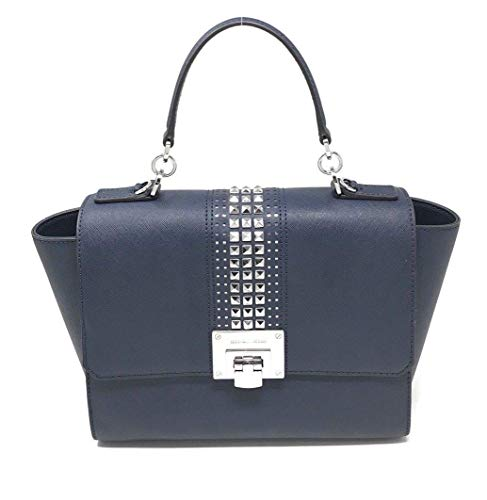 Michael Kors Tina Studded Satchel Bag Flap Chain Navy Crossbody Bag
