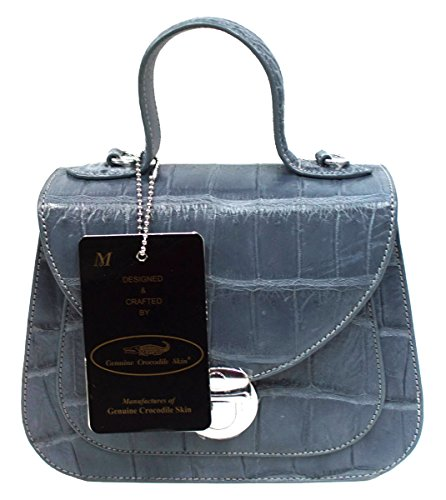 Authentic M Crocodile Skin Womens Belly Clutch Shoulder Bag Purse W/Strap Button Silver Handbag