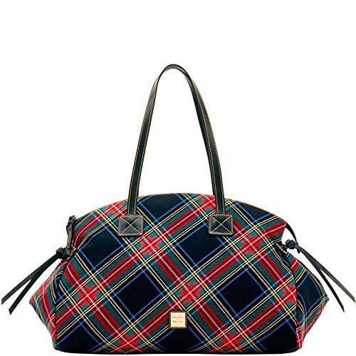 Dooney & Bourke Tartan Plaid Large Duffel Shoulder Bag Black