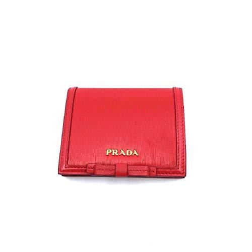 Prada Portafoglio Verticale Fuxia Red Leather Vitello Move Flap Bow Wallet 1MV204