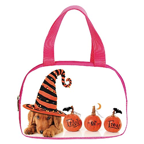 Personalized Customization Small Handbag Pink,Halloween,Cute Puppy Wearing a Witch Hat Trick or Treat Little Bats Festive Funny,Orange Black Brown,for Girls,Personalized Design.6.3″x9.4″x1.6″