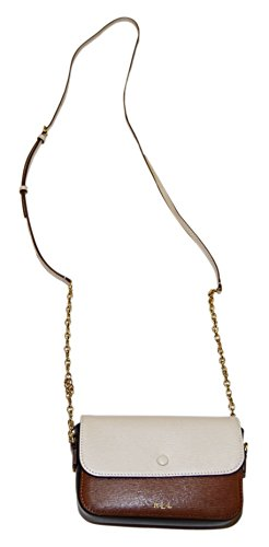 Polo Ralph Lauren Womens Clutch Leather Gold Chain Purse Brown Beige Cream